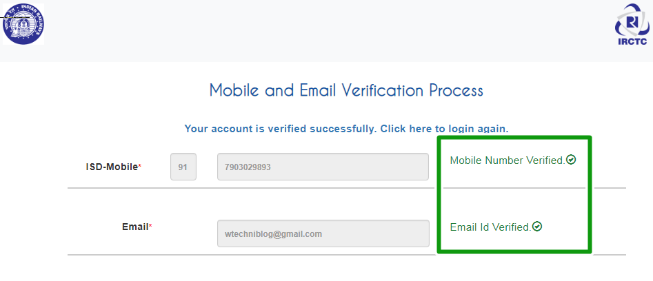 irctc account verification