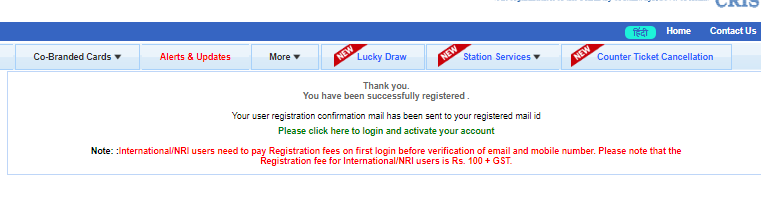 irctc successfully registered