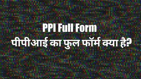 PPI Full Form - पीपीआई का फुल फॉर्म क्या है?